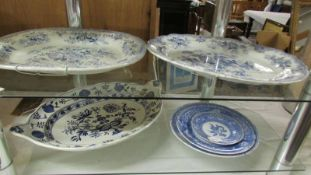 """Two Spode """"Camilla"""" blue and white plates,"""