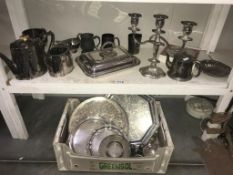 A large selection of silver plate including tureen, candelabra, part tea set & trays etc.