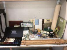 A good quantity of artist materials including Derwent pencil sets, paper & easels etc.