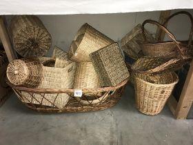 A quantity of wicker baskets etc