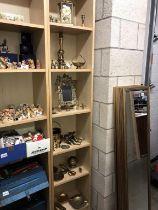 6 shelves of brass including photo frame, Anniversary clock, candlesticks & ornaments etc.