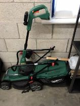 A Qualcast cordless lawn mower (no charger) & Challenge strimmer (no battery or charger) - both