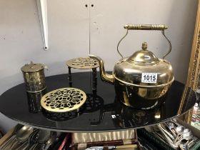 A brass kettle,