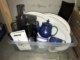 Food processor, meat platters, Chinese blue and white bowls etc.