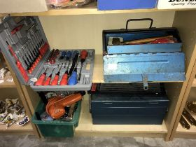 2 shelves of tools including screwdriver set, cantilever tool boxes & contents etc.