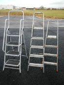 3 good aluminium step ladders.