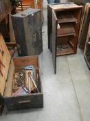 3 old wooden tools boxes and some tools.