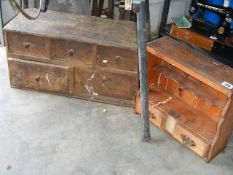 2 pine drawer units in need of restoration.