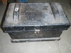 """An excellent solid pine tools box and contents, approximately 20"""" x 12"""" x 12""""."""