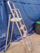 A double extending ladder and a 4 tread step ladder.