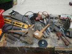 A mixed lot of tools including hammers, saws, 2 electric drills,
