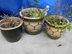 3 buff patterned terracotta garden pots (largest 38 cm diameter x 32 cm tall).