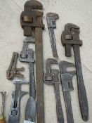 A good selection of Stilsons (some Record) and other tools.