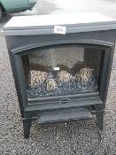 An electric Dimplex coal effect fire, Height 60 cm, width 40 cm, depth 250 cm.