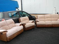 A good quality part leather suite comprising 2 seat, 3 seat sofa's and chair, all reclining.