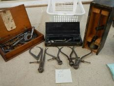 A good selection of woodturning internal and external calipers,