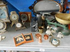 A mixed lot including Salter scales, brass, pewter, clocks etc.