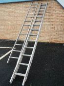 An Abru 4 meter 2 part extending ladder and one other.