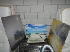 3 prints and canvas and another print, landscapes.