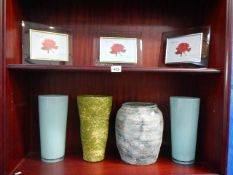 4 vases and 3 glass photo frames.