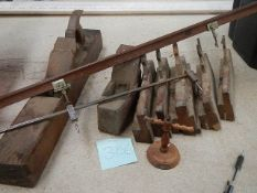 A good selection of Besch moulding planes, some by J Miller of Sheffield,