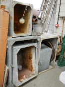 5 galvanised water tanks (various sizes/ideal for 'upcycling'), a green house heater,