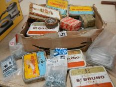 A good selection of vintage tobacco tins mostly containing screws/bolts etc including new.