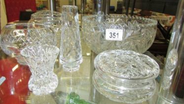 A cut glass bowl, rose bowl, small bowl and 2 vases.