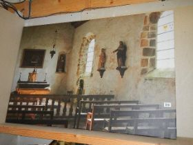 A large print on canvas depicting the interior of a church.