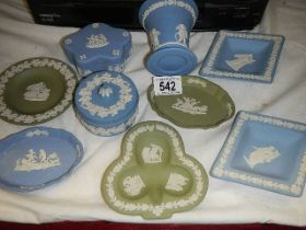 A mixed lot of Wedgwood blue and green Jasper ware.