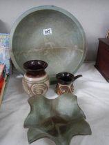 Four pieces of studio pottery.