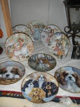 A quantity of collector's plates including dogs.