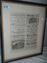 A framed and glazed newspaper advertisement page.