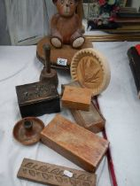 A mixed lot of wooden items including shortbread mould, Teddy bear, boxes etc.
