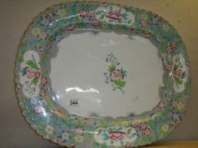 A floral decorated meat platter. ****Condition report**** N.