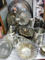 A mixed lot of 20th century silver plate including trays, dishes, tankard etc.