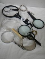 A mixed lot of magnifying glasses.