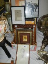 A large lot of old picture frames and a pencil drawing.