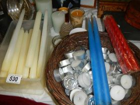 A mixed lot of assorted candles.