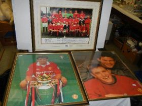 A framed and glazed photograph of Manchester United FC and two other football related photographs.