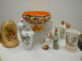 A mixed lot including footed bowl, vases etc.