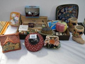 A mixed lot of needlework and knitting items.
