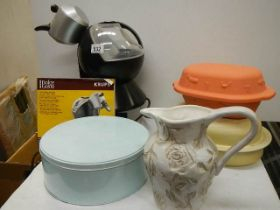 A mixed lot including coffee maker, casserole dishes etc.