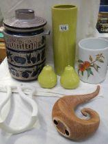 A mixed lot including Rumtoft jar, vase etc.