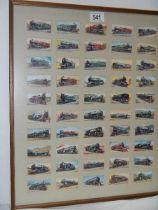 A framed set of locomotive cigarette cards.
