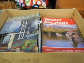 A box of magazines including Scottish Field, Trout and Salmon etc.