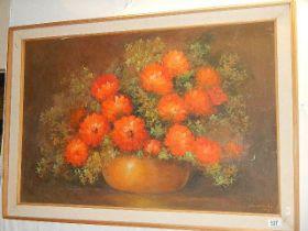 A framed study of Chrysanthemums.