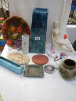 A mixed lot including nude figure, vases, plaques, fruit decorated plate etc.