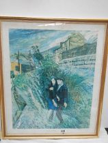 A rural scene with couple signed Carol Weight.