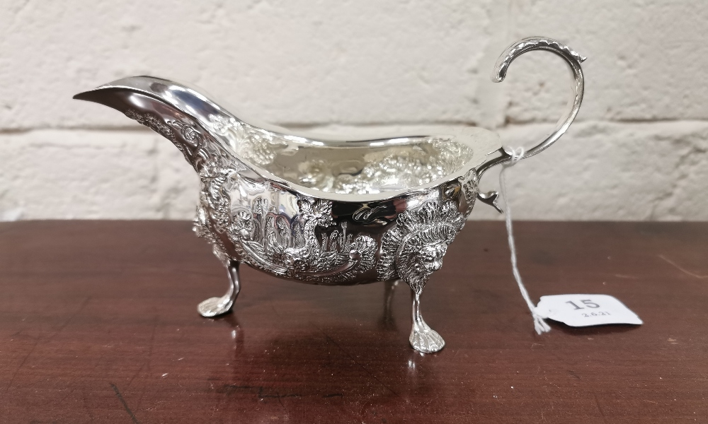 Irish Silver Sauce Boat, 22cmW x 11cmH, by Alwright & Marshal, dated 1976, (253 grams), ornately - Image 4 of 4